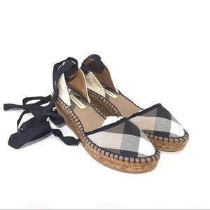 Burberry House Check Wedge Espadrille Sandals